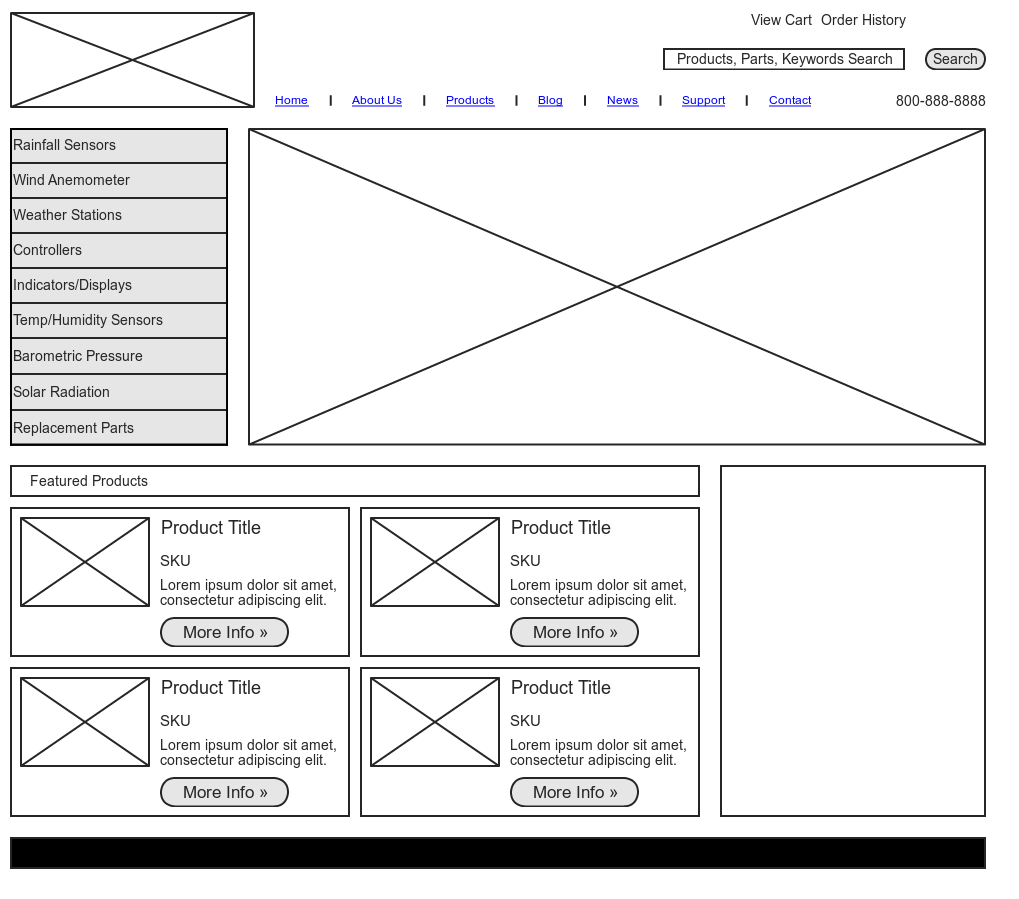 Wireframe Sample home Page