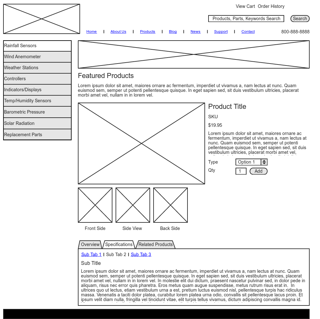 Wireframe Product Detail home Page