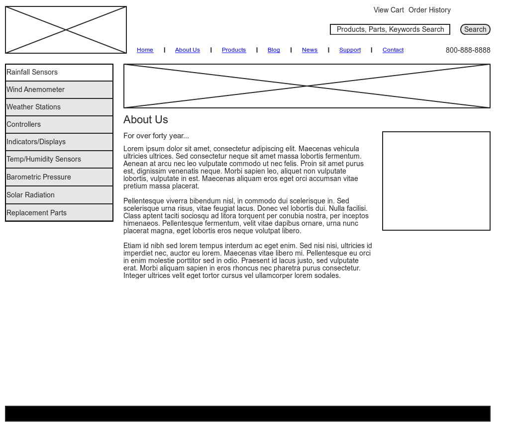 Wireframe Sample Secondary Page